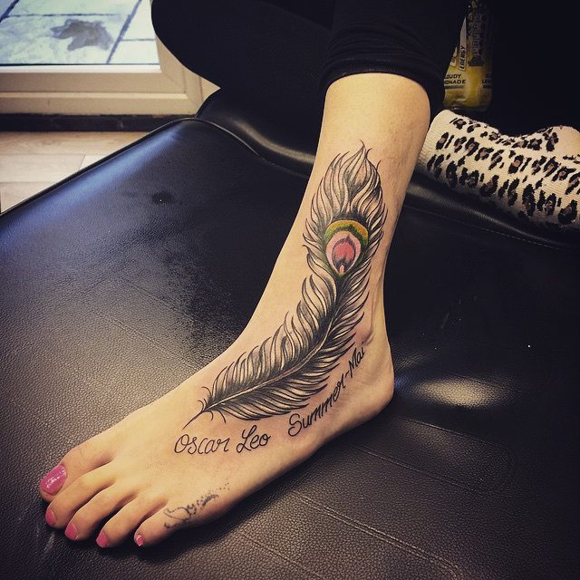 Peacock Tattoo for Ankle