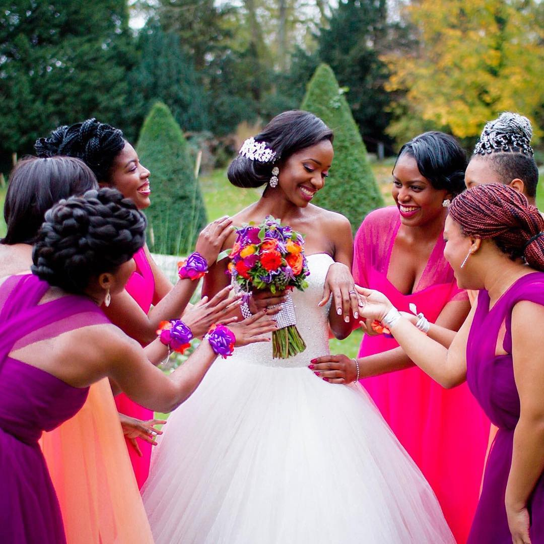 Side Bun Bridal Hair Design For Black People