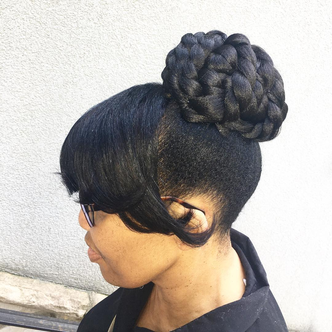Handcrafted Bun With Full Bang Hairstyle Design