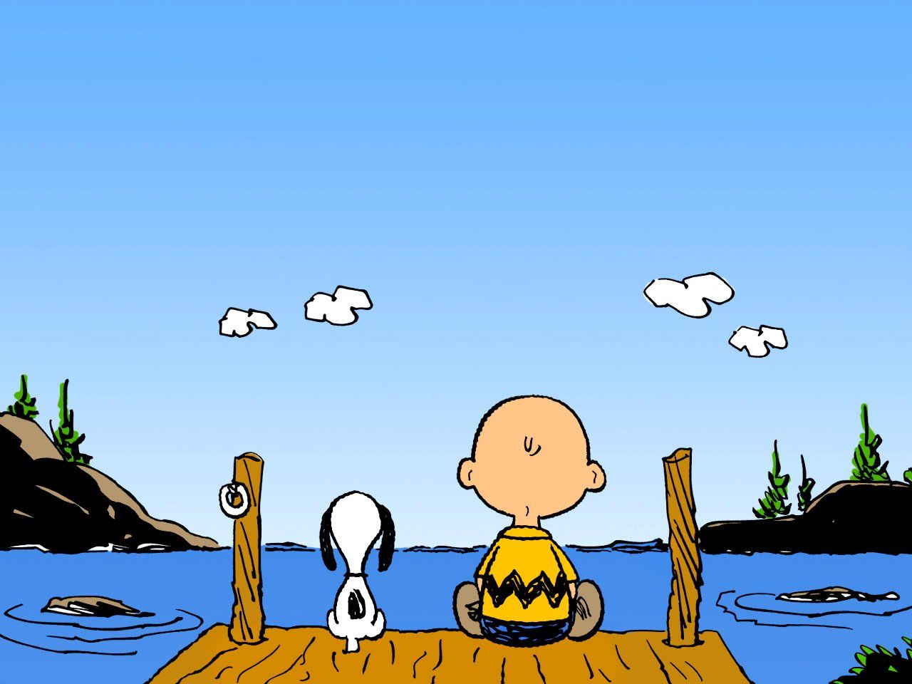 Snoopy Fishing Wallpaper