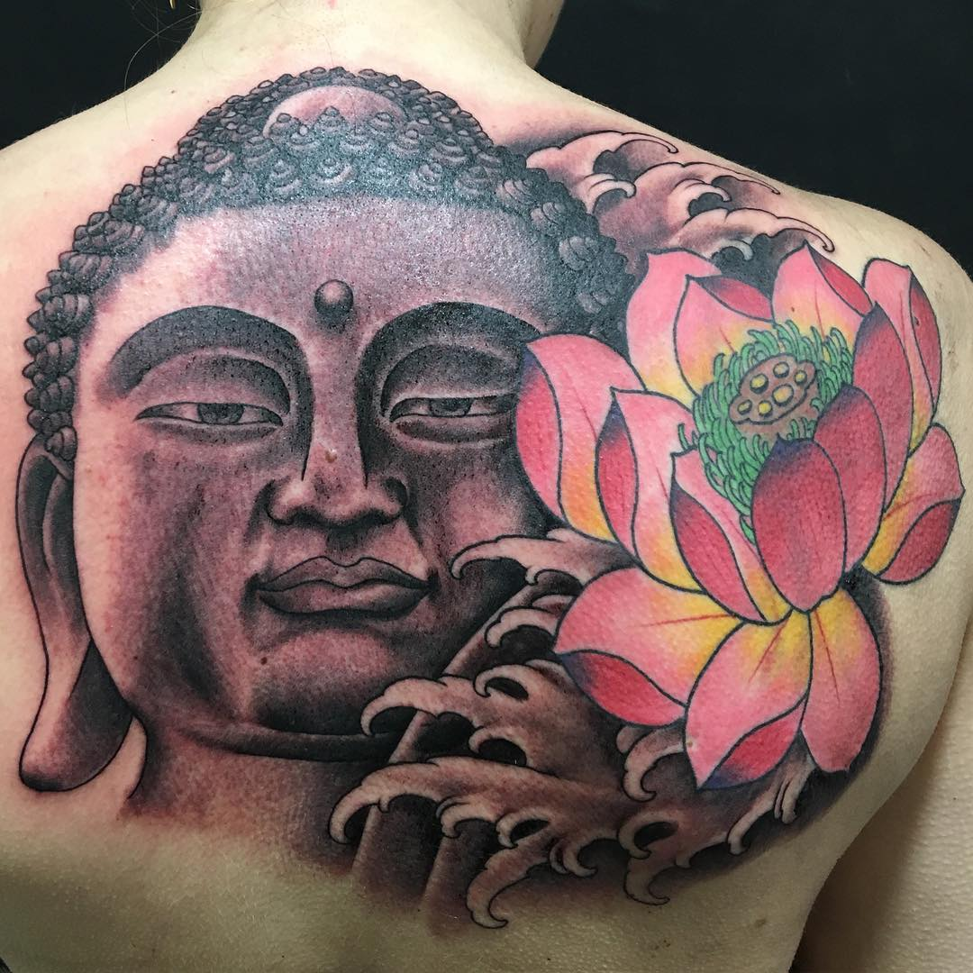 Lotus with Buddha Tattoo