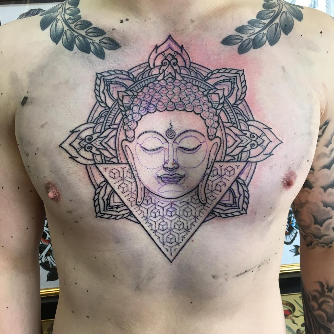 Chest Buddha Tattoo Design