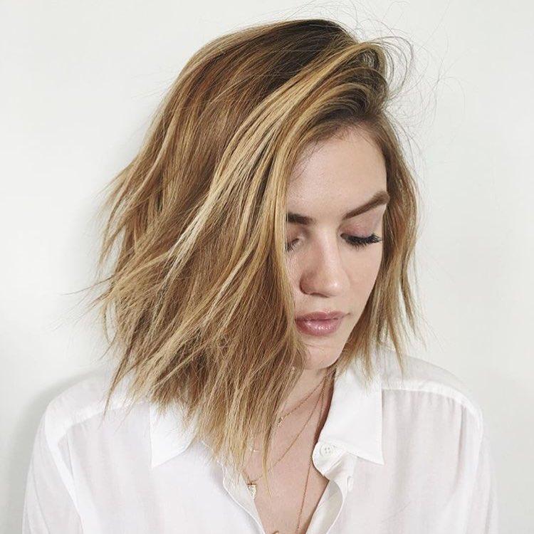 Shoulder Length Side Bang Textured Haircut