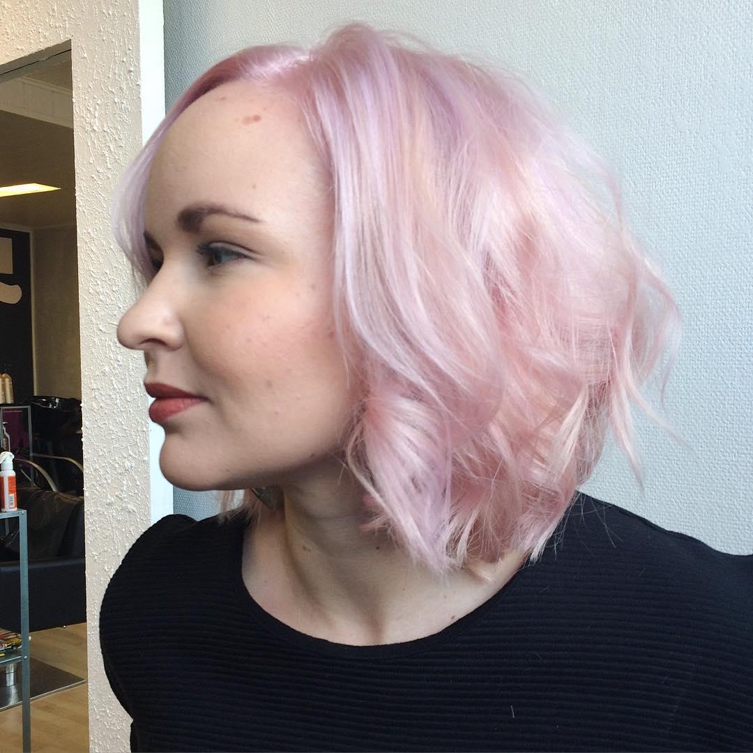 Pastel Pink Long Bob Haircut