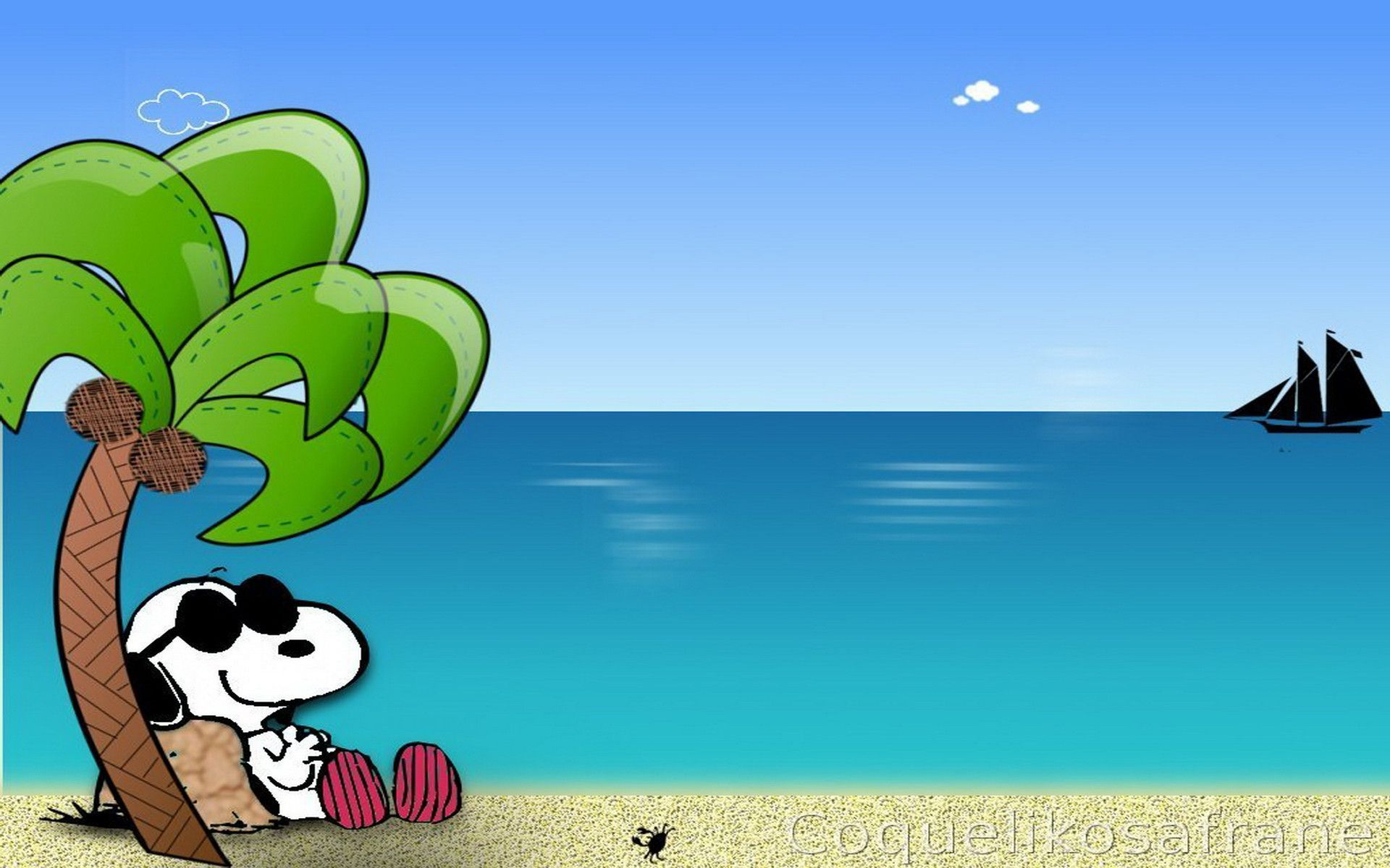 snoopy at beach wallpaper