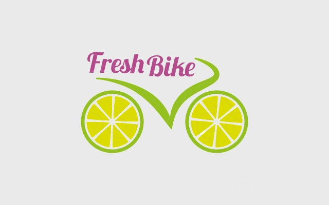 fresh bike lemon logo design