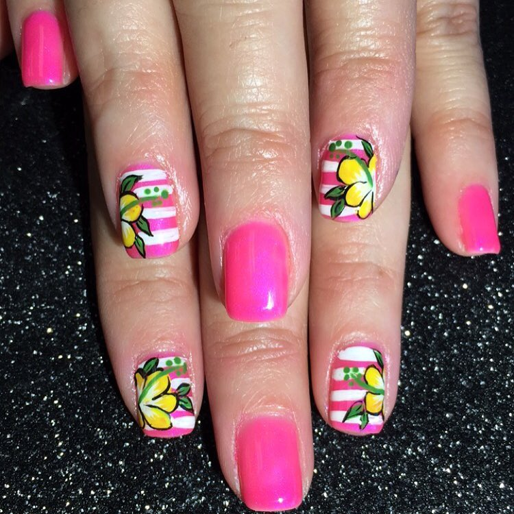 Colorful Hibiscus Flower Spring Nail Art Design
