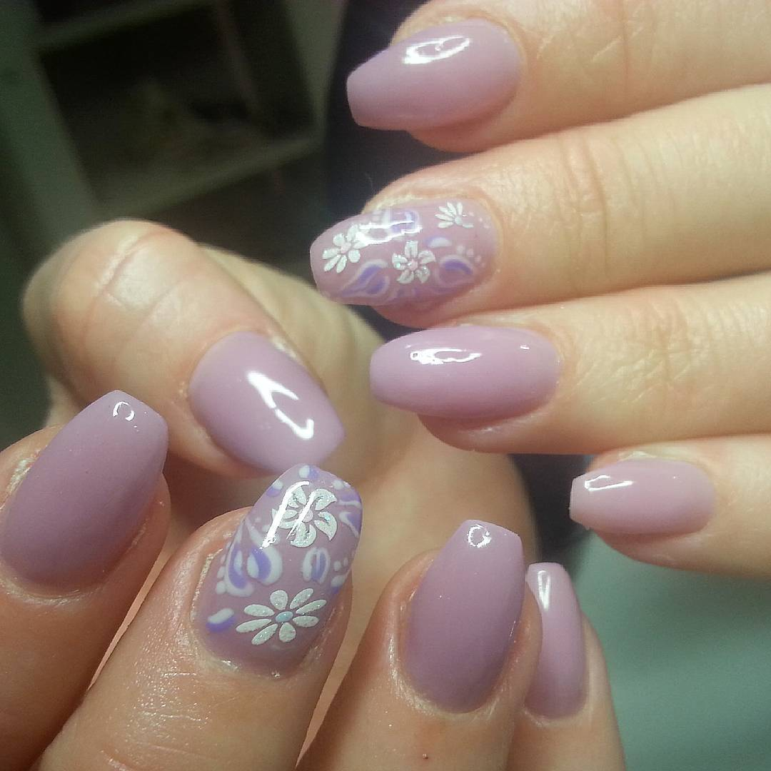 Lavendar Gel Finger Nail Design Idea