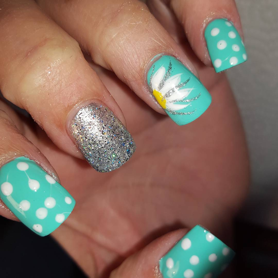 Blue Polka Dot Nails With Glitter