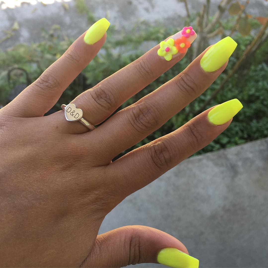 Yellow Neon Summer Nails With Flower Art