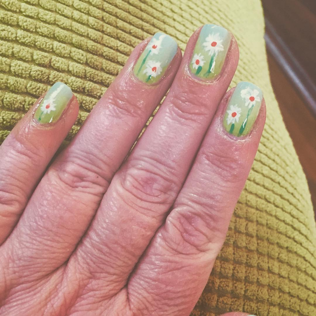 Easy Green Flower Nail Art Idea