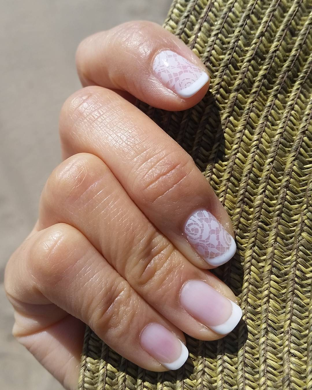 white french summer lace nails art