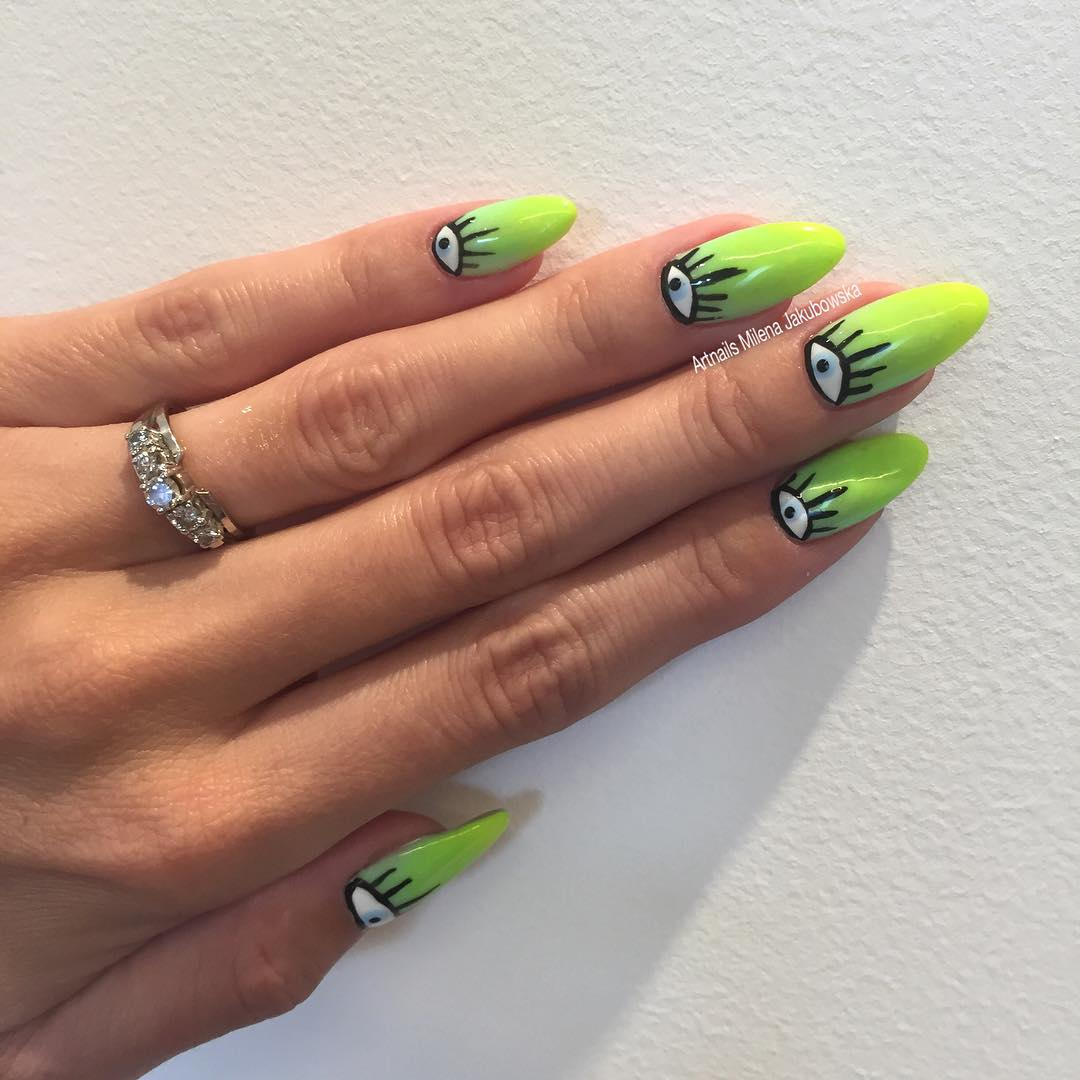 Eye Designed Long Nails For Summer.