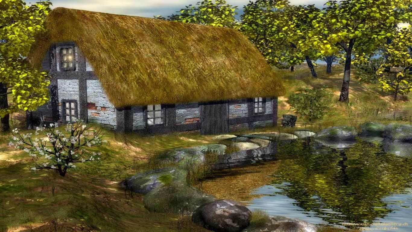 Rural House Painting Wallpapers