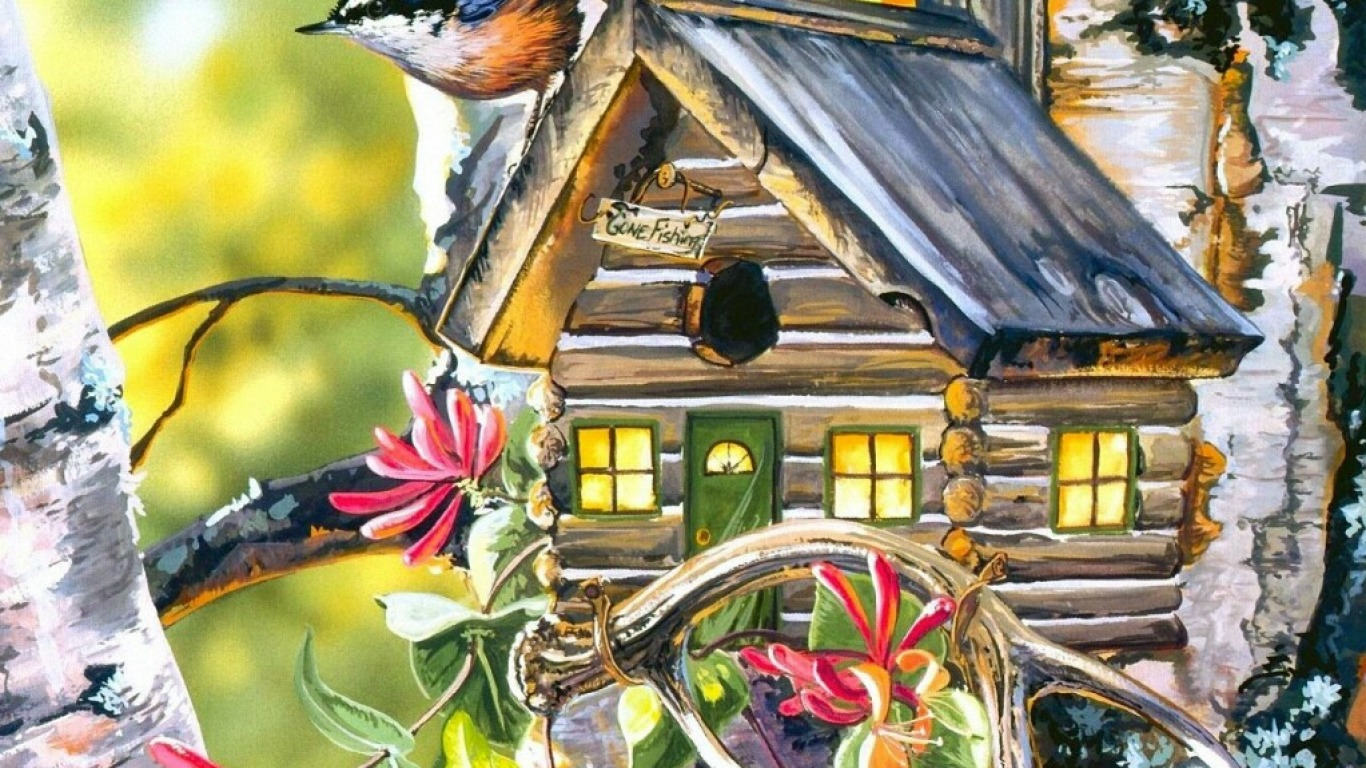 Bird House Painting Wallpapers
