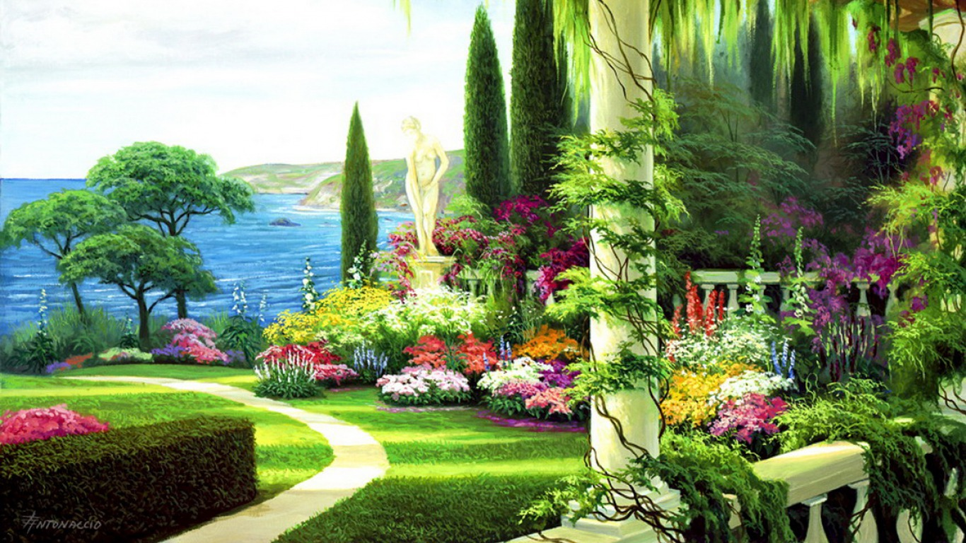 25 painting wallpapers backgrounds images pictures for Garden painting images