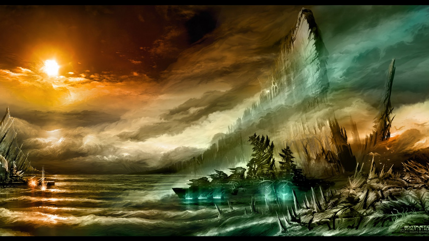 Night Background Painting Wallpapers