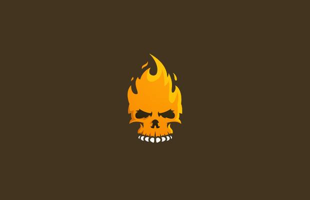 aggressive style skull fire logo