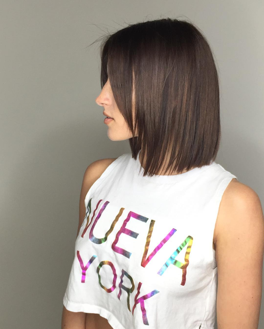 Brunette Short Blunt Bob Hairstyle
