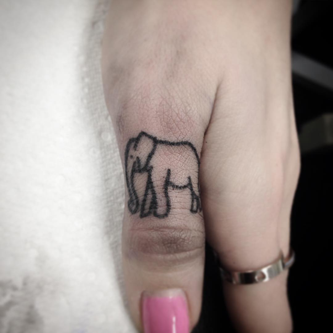 elephent small tattoo for finger