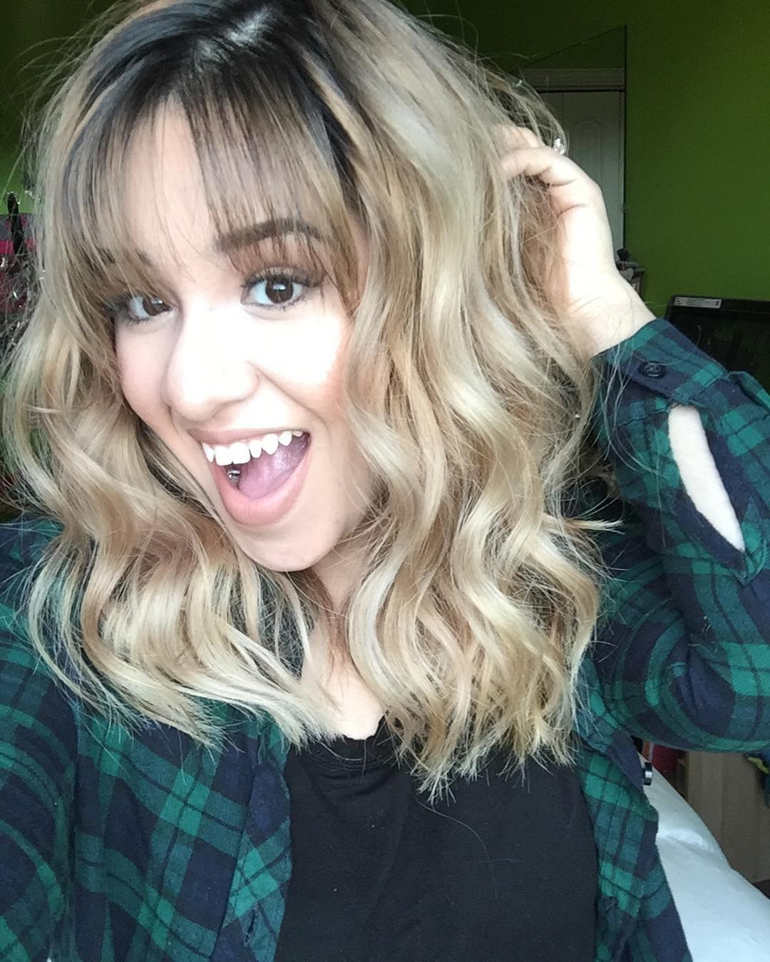 Curly Long Blonde Bob Haircut.
