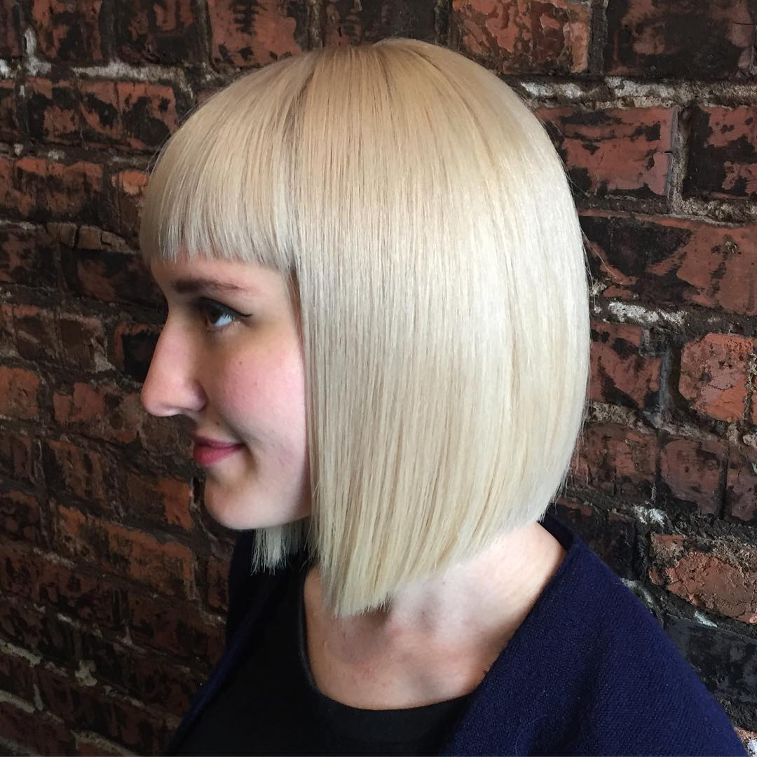 Pretty Creamy Blunt Bob Haircut