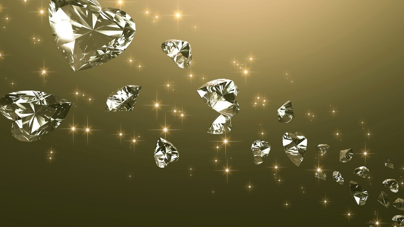 diamonds heart floating wallpapers