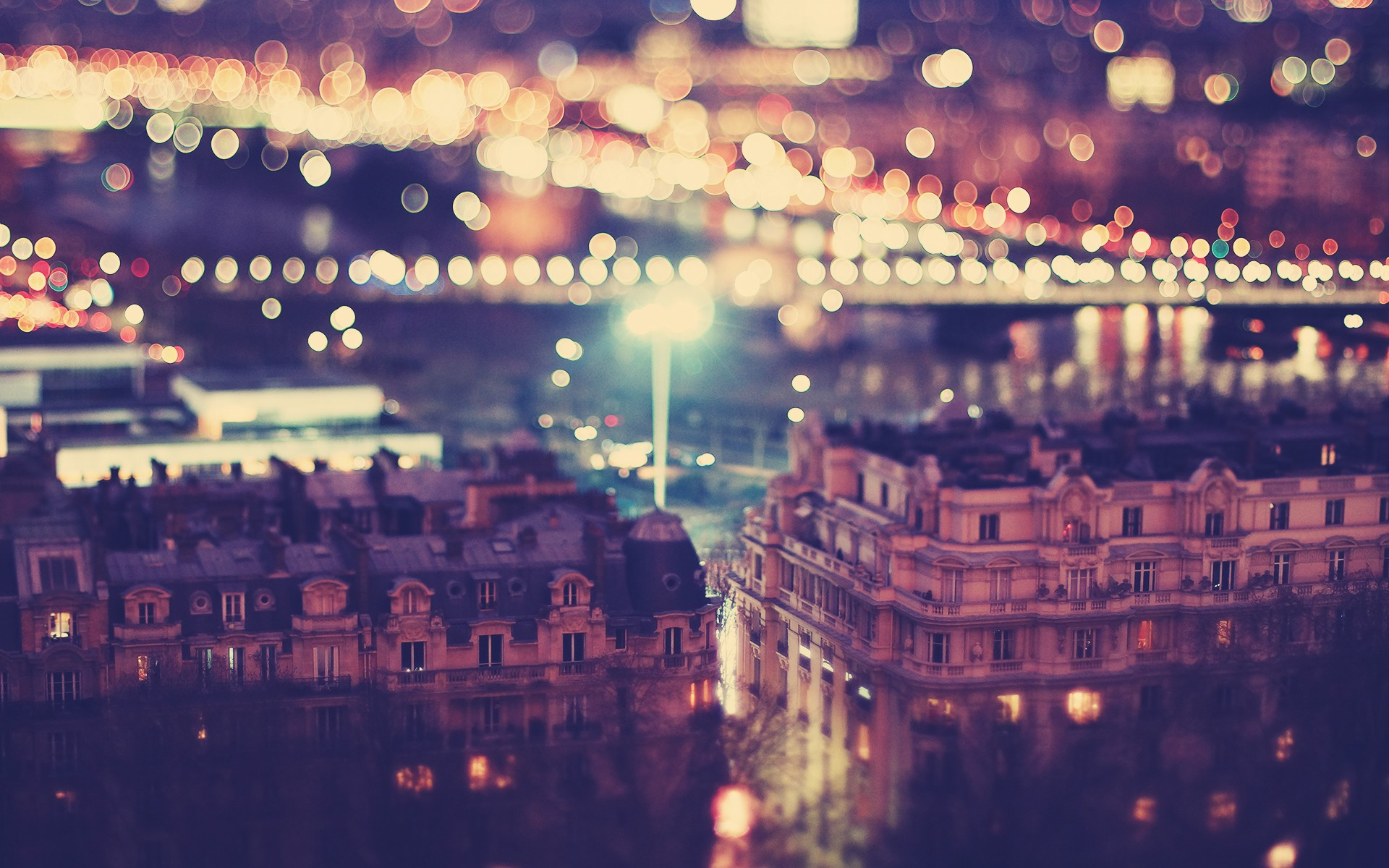 tilt shift night wallpaper