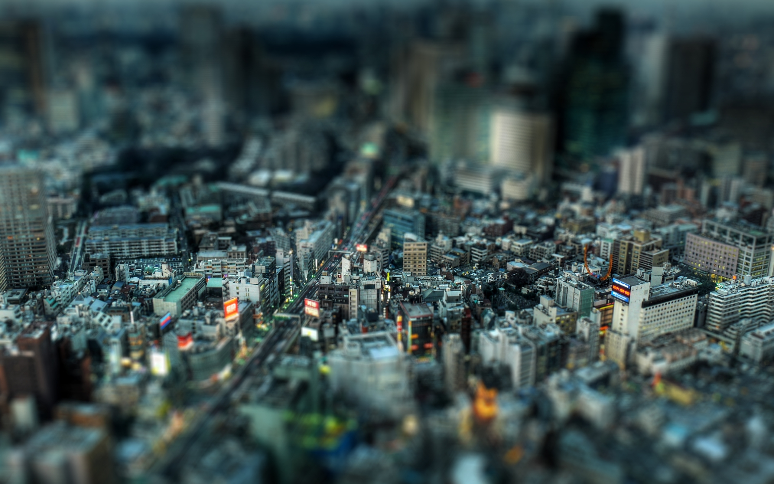 small city tilt shift wallpaper