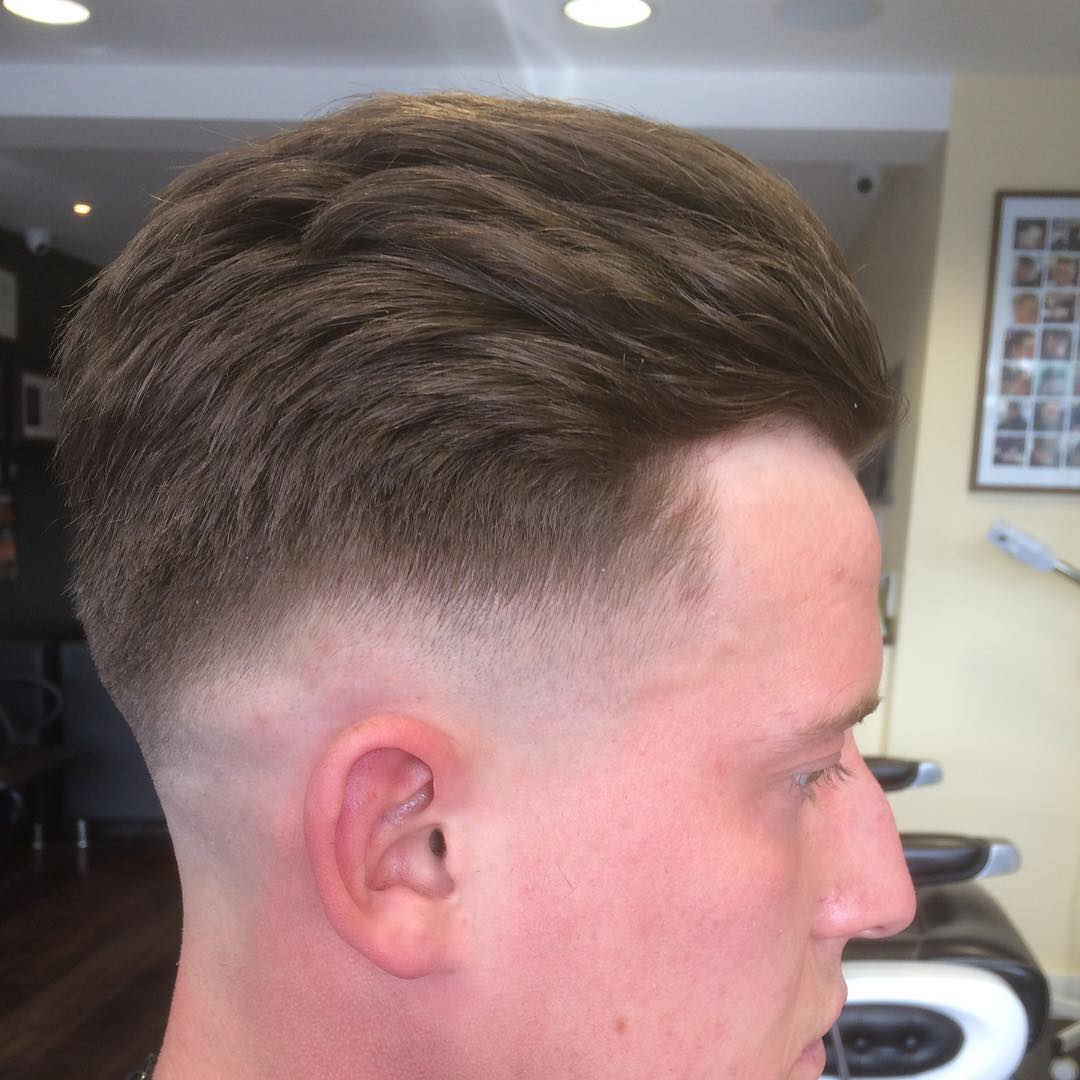 Heavy Sweep Back Men Faded Haircut