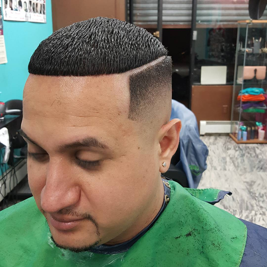 High Top Lined Fade Hairstyle Idea.