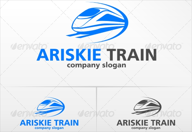 business company logo with train