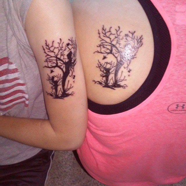 Fantastic Mother and Daughter Tree Tattoo