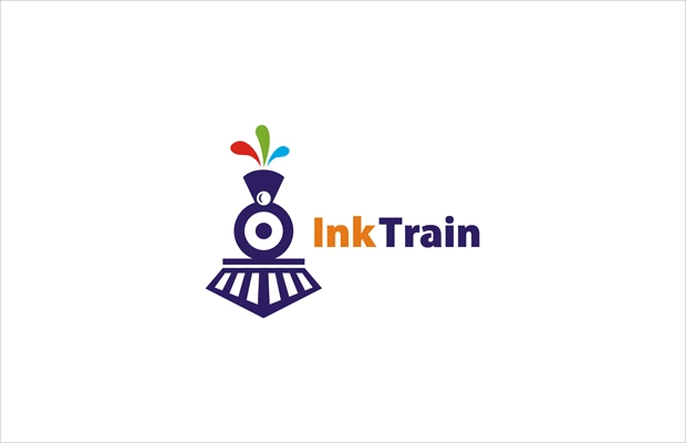 creative printing train logo
