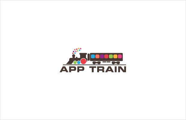 cute train design logo