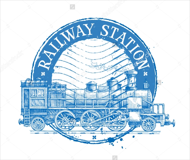 railway station vector logo design