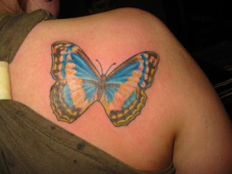 Cute Butterfly tattoo on shoulder for women