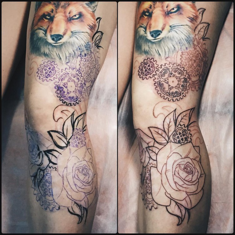 Modern inked tattoo on leg