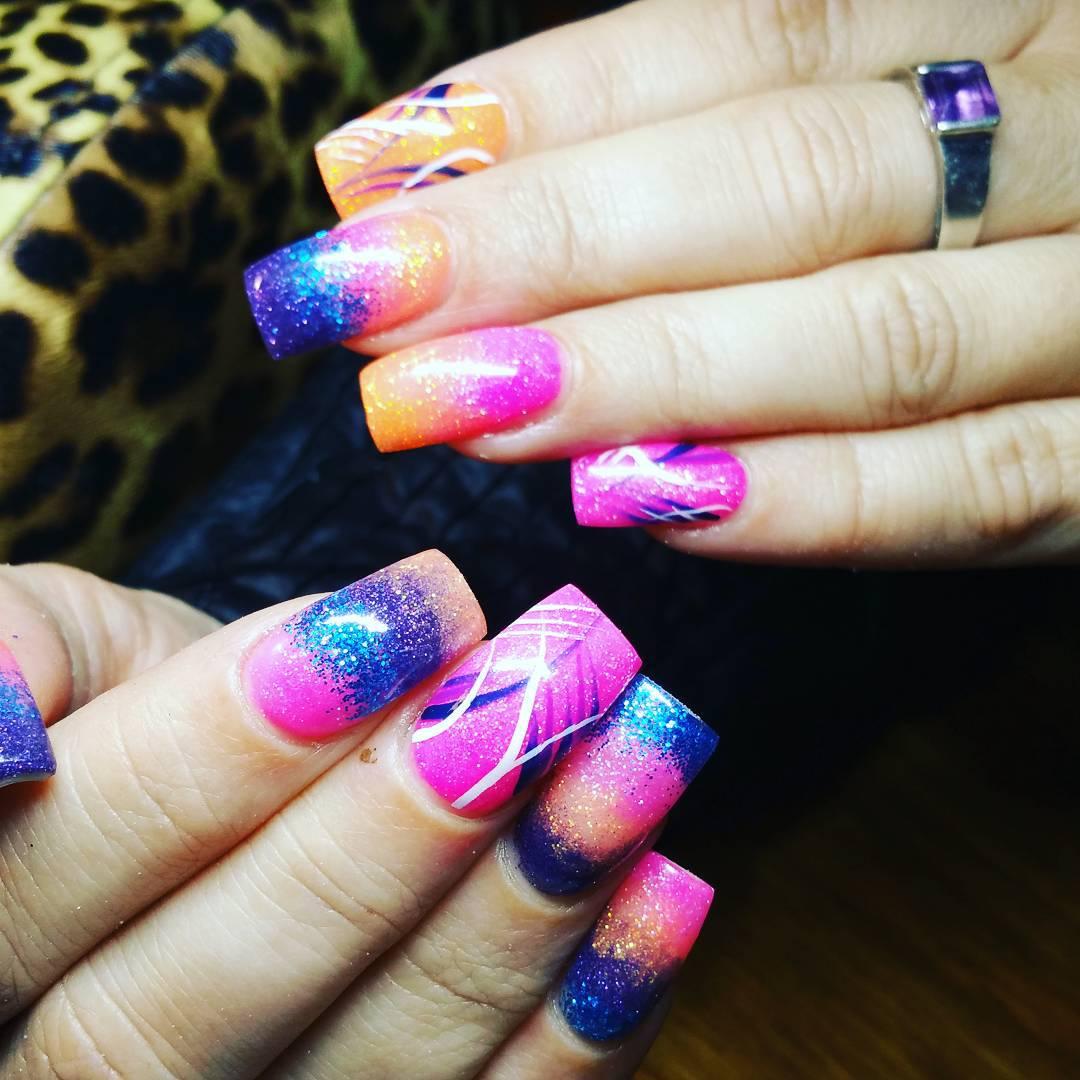 colorful design nail art for long nails