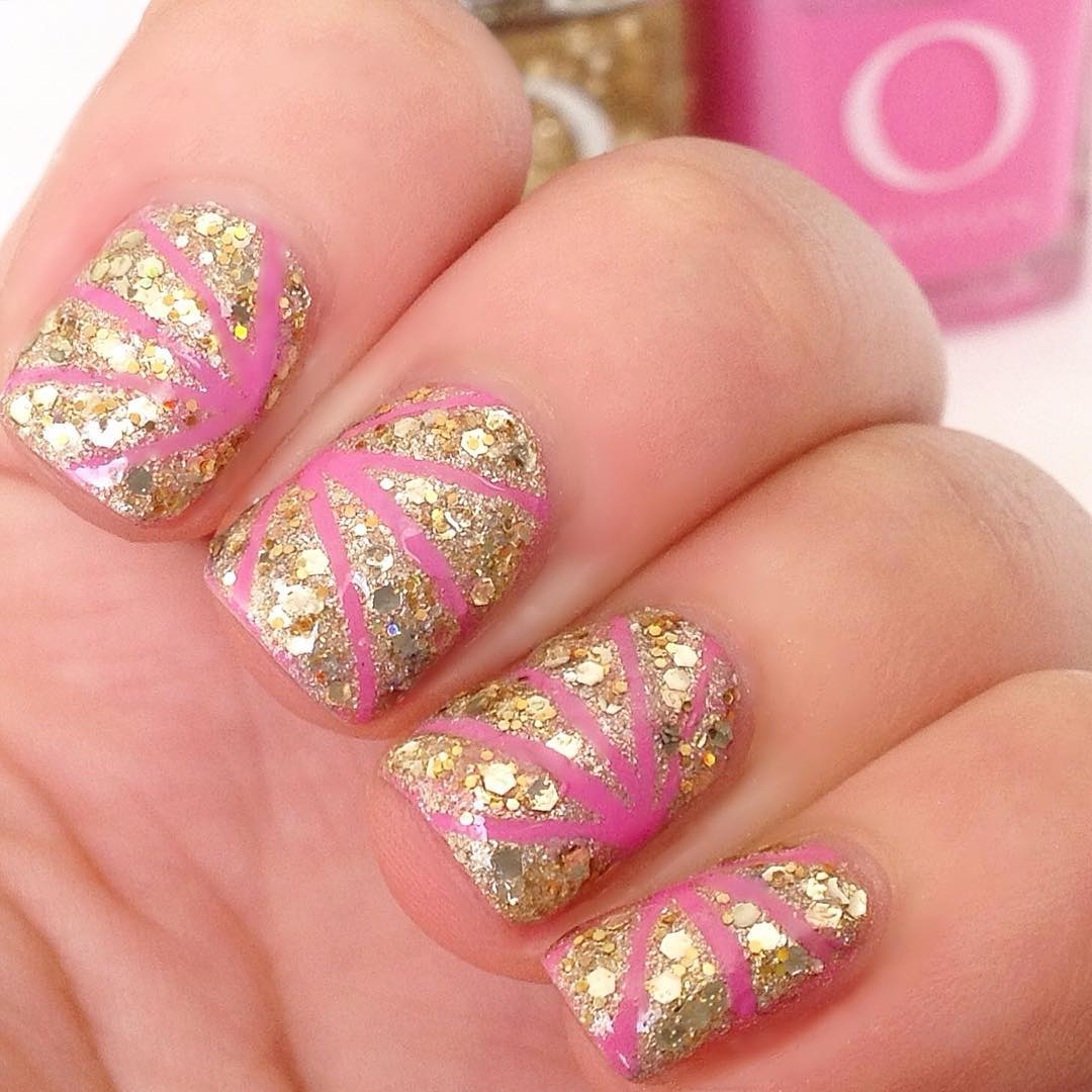 Pink And Golden Glitter Nail Design