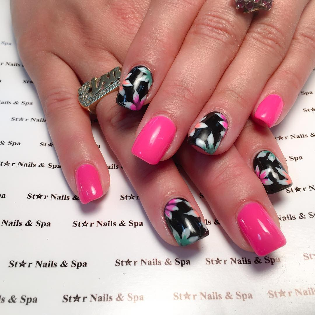 Pink And Black Design Nail For Women