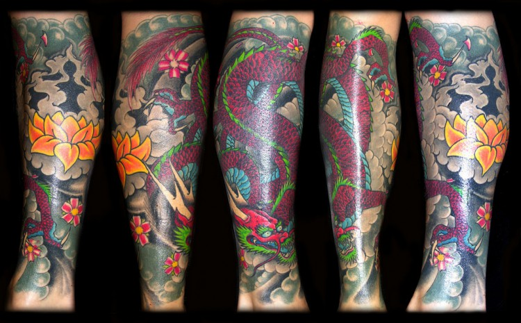 Full dragon leg tattoo