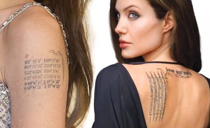 Angelina Jolie Text Tattoo on back of her body