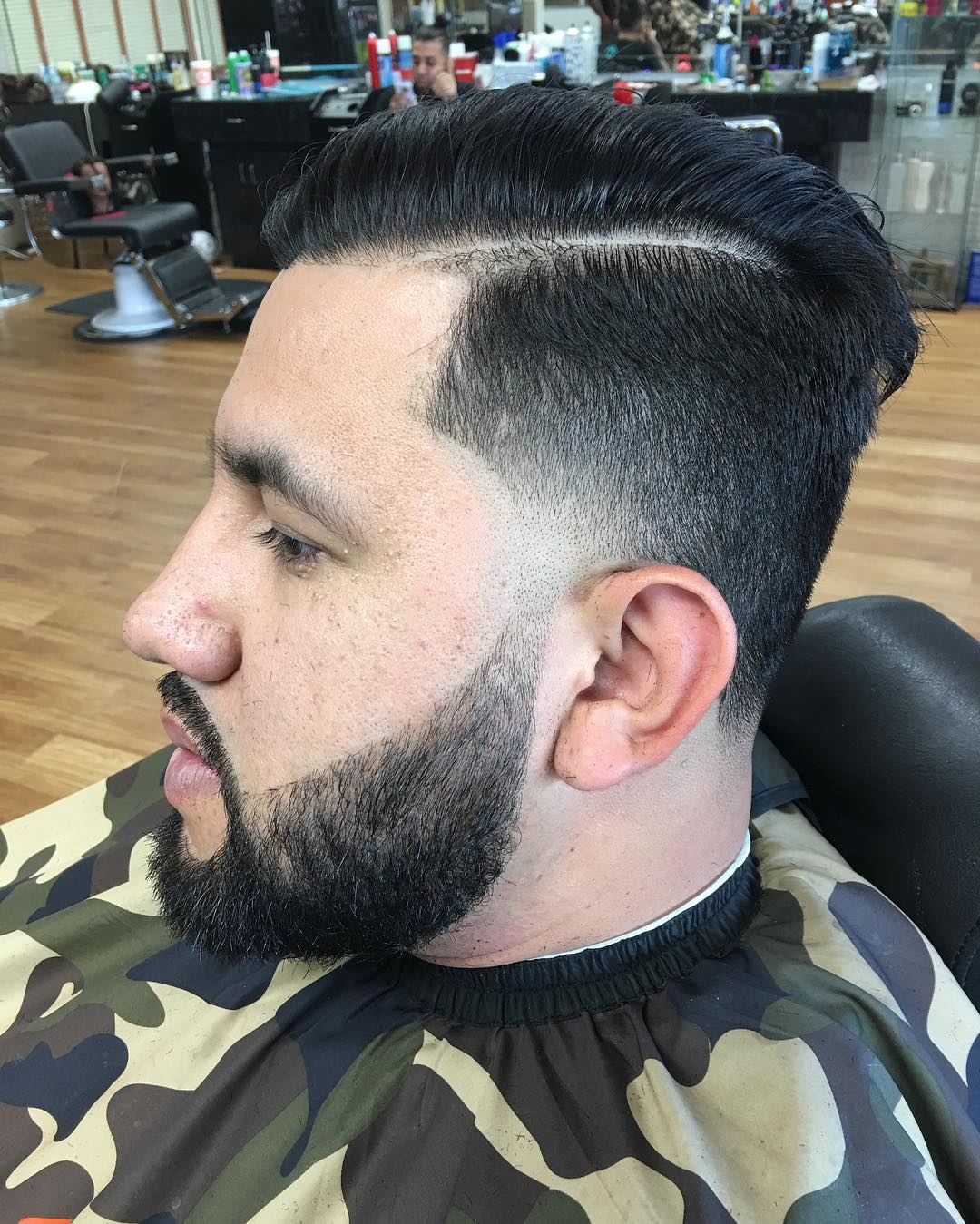 Side Parted Sharp Fade Hairstyle
