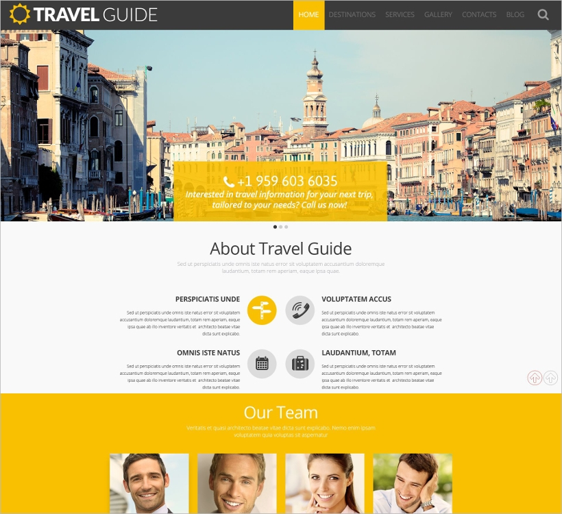 travel wordpress template with bootstrap functionality