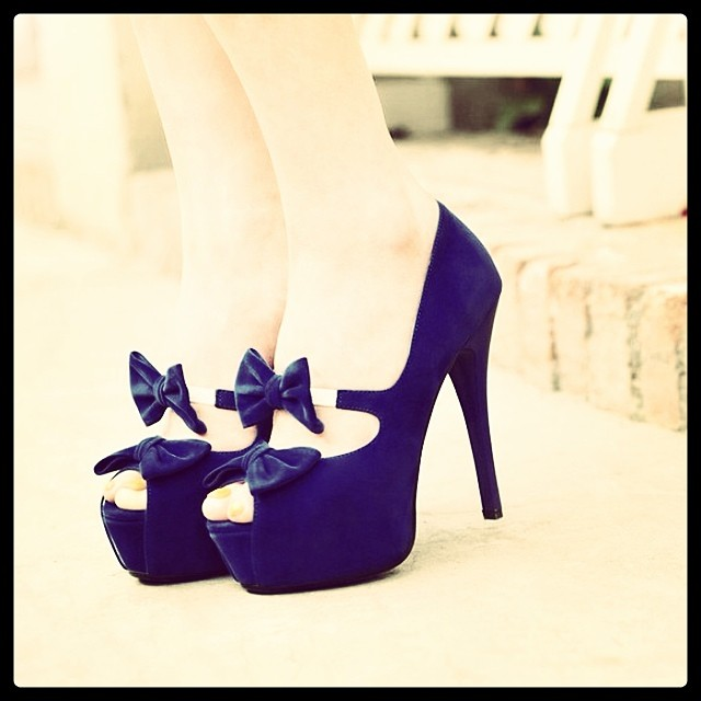 vibrant blue color high heel shoes