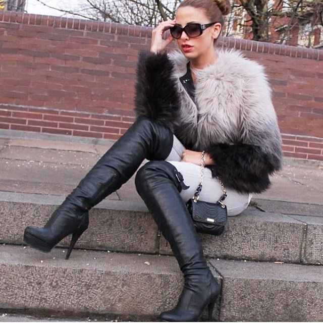 stylish black high heels boots