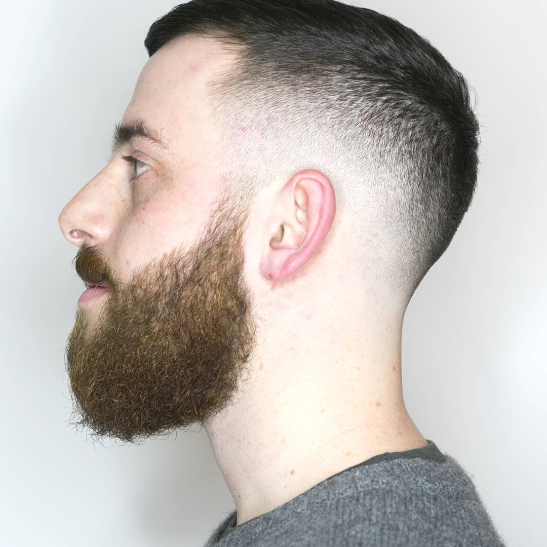 Short Fade Haircut For Beard Men.