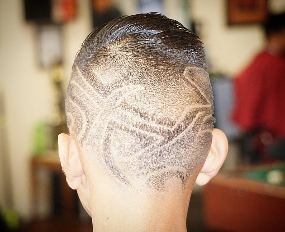 Designed Fade Hairstyle For Boys
