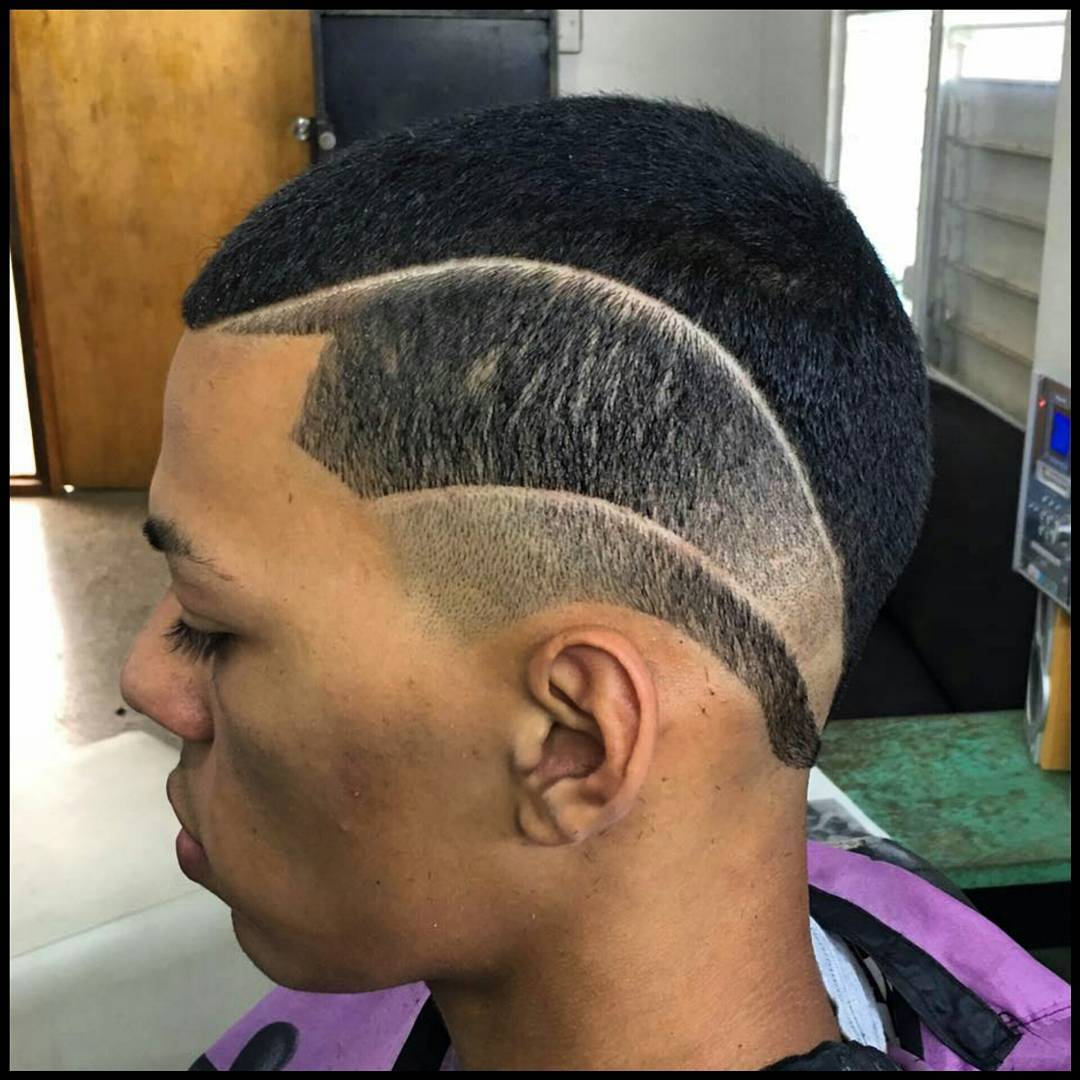 Side Designed Black Men Fade Hairstyle